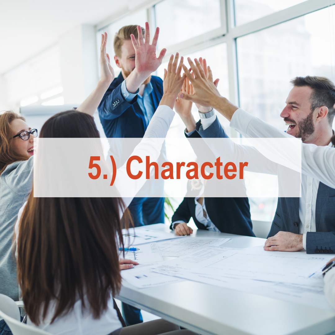 Group of co-workers in board room giving each other high fives | Character