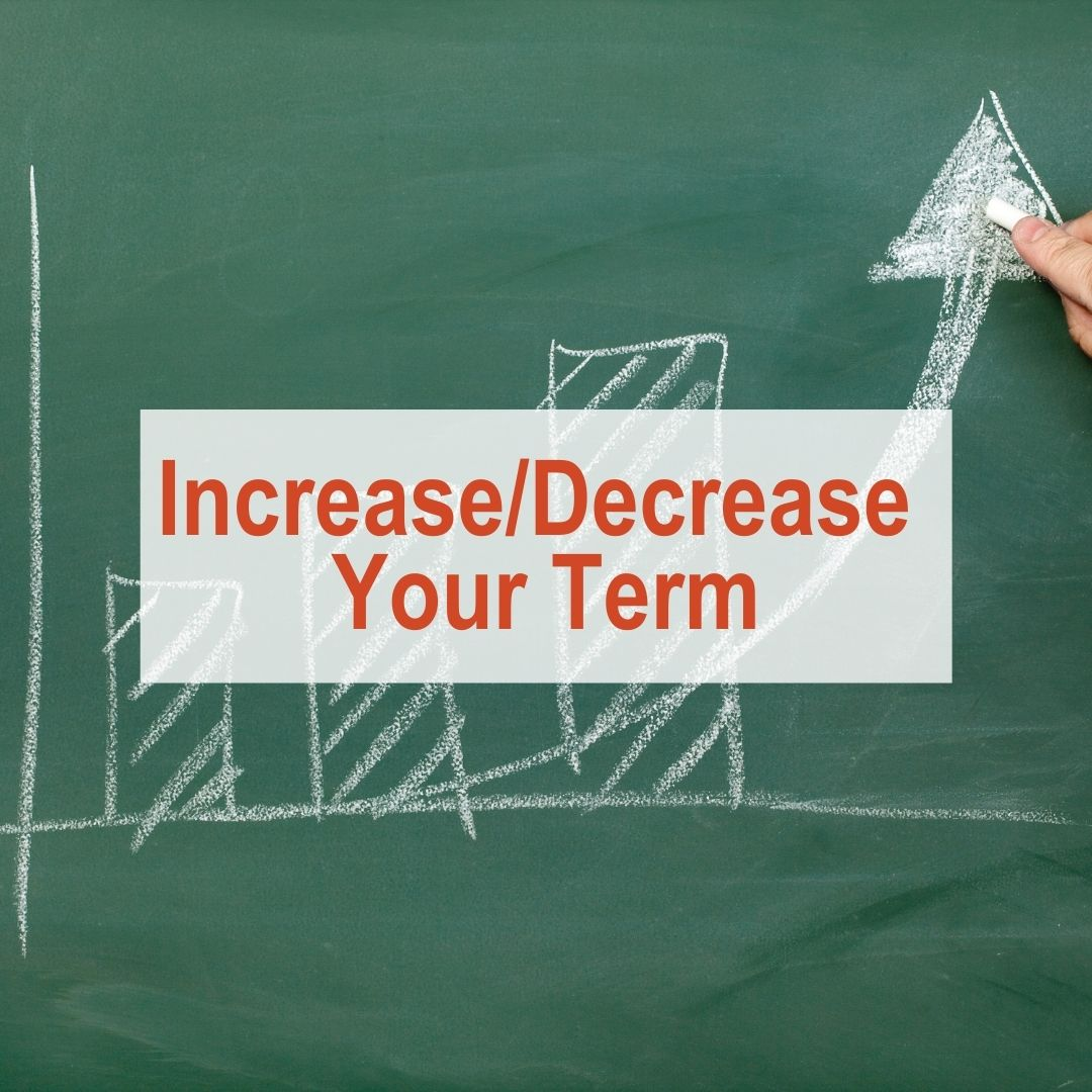 Chalkboard with bar graph and arrow going up | Increase/Decrease Your Term