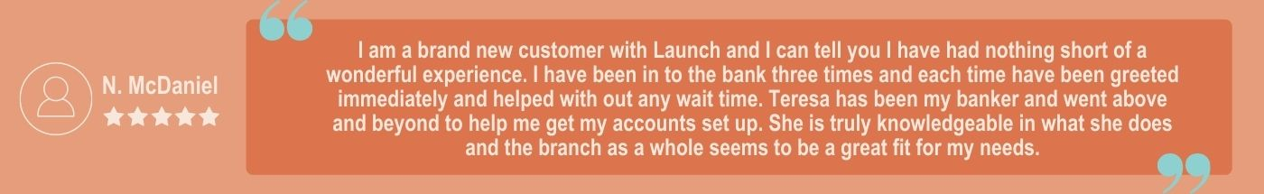 Become A Member Five Star Review at Launch Credit Union