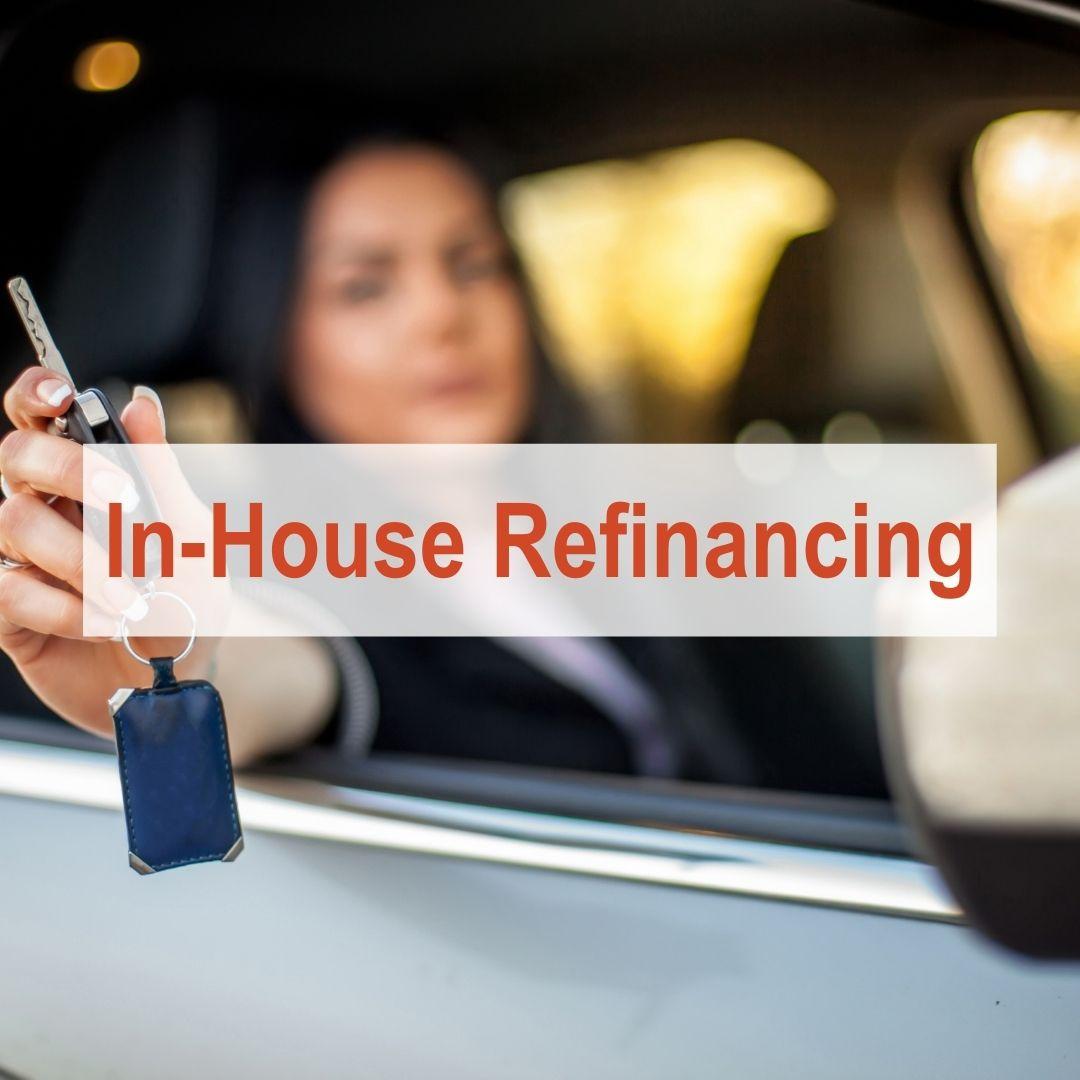 woman holding keys outside of car window | In-House Refinancing