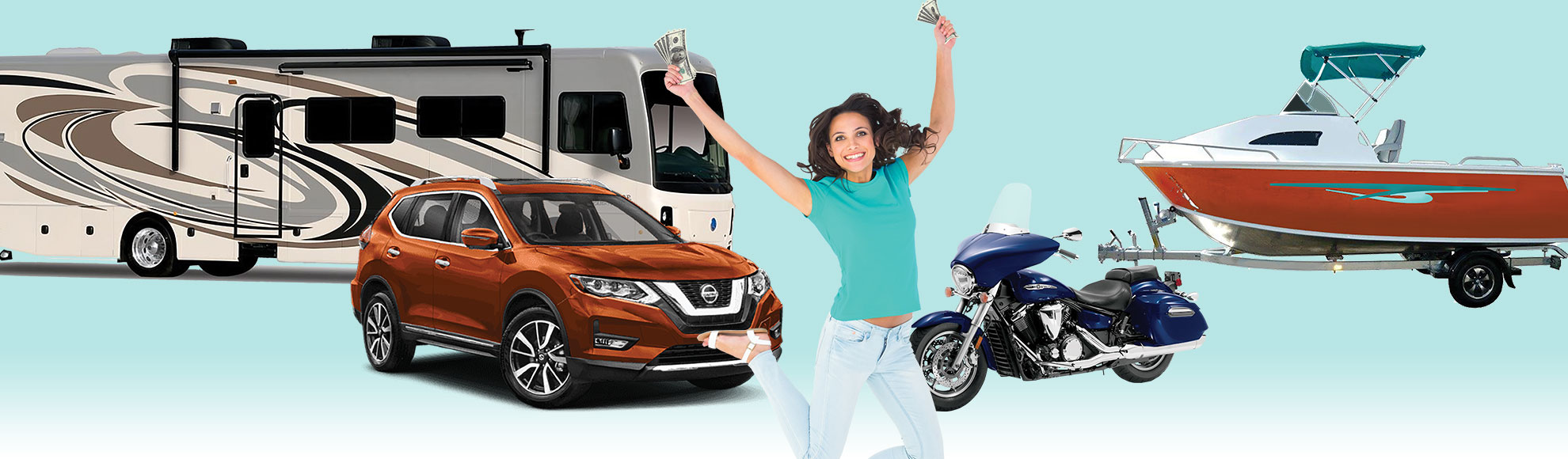Auto Refi Promotion- Girl jumping with excitement with an RV, car, motorcycle, and boat behind her