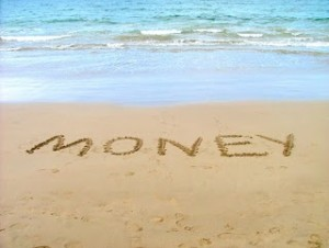 money in sand