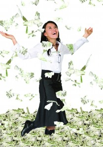 money toss woman
