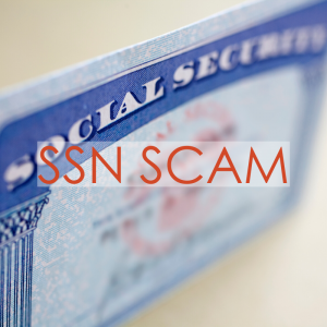 Social security card standing on its side | SSN Scam
