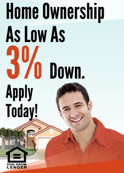 Home Ownership as low as 3 percent down