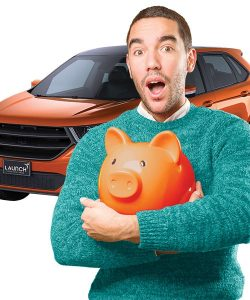 man holding piggy bank with car in the background