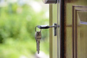 home key in the door lock