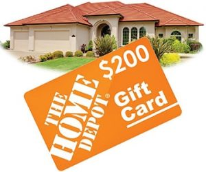 home with a home depot gift card in front of it