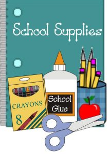 school supplies glue crayons picture