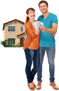 We're waiving our $400 mortgage processing fee. Apply online today. Man and woman holding $400 in front of a home.