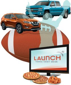 For a limited time, get .25% APR* off your qualified auto loan rate and 60 days deferred payments. In addition, anyone who finances or refinances a vehicle loan with Launch FCU now through September 30 will be entered to win a pizza party with a flat screen TV along with pizza and wings.