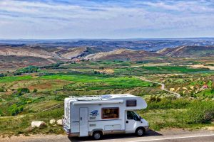 Rv driving along the highway