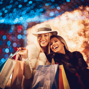 Two women smiling holding shopping bags with Christmas lights in the background. Avoid Impulse Holiday Shopping