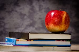 apple sitting on top of a book all in front of a chalk board
