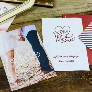 Two Valentine's Day cards. One couple holding hands and other says to my valentine