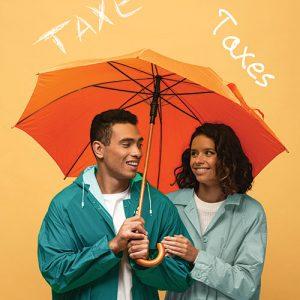 A man and a woman under an umbrella