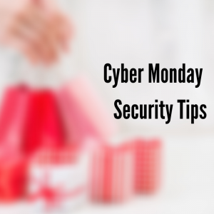 White background with hand grabbing a red gift bag with cyber monday security tips