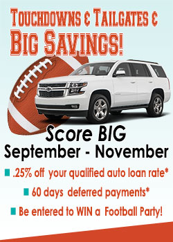 Touchdown and Tailgates Ad with a Football and an SUV-Auto Loan