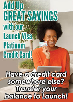 Woman holding an ipad and a credit card- Add up great savings with our Launch Visa Credit Card