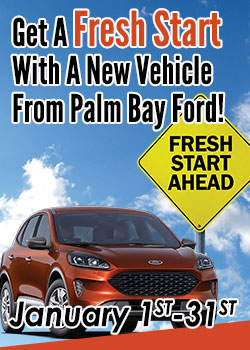 Orange SUV with Fresh Start Sign- Get a Fresh Start With a New Vehicle From Palm Bay Ford