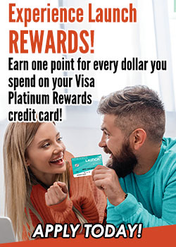 Man and woman holding the Launch Rewards Card- Experience Launch Rewards!
