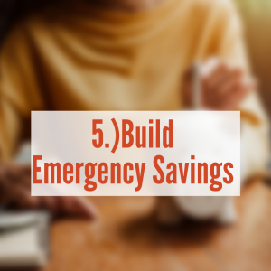 "woman putting money in a piggy bank ""Build Emergency Savings"""