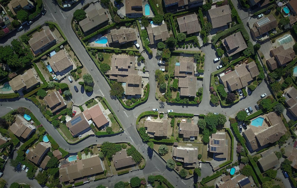 Arial view of homes