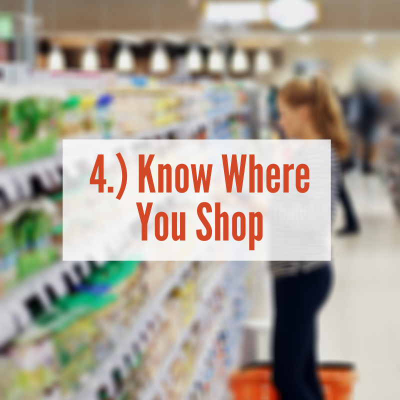 Woman standing in aisle looking at products | Know Where You Shop