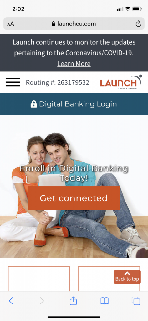 Screenshot of new website on mobile