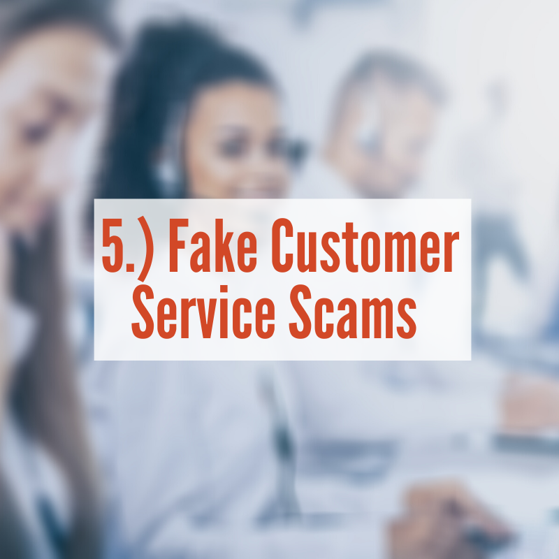 Costumer service agents with headsets typing on computer | Fake Customer Service Scams