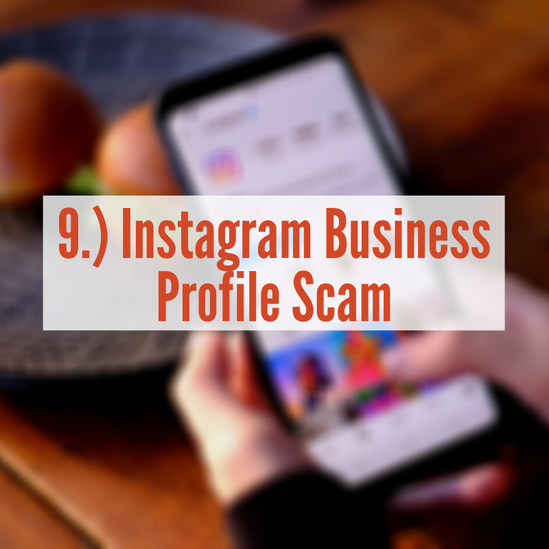 Person holding phone with Instagram app up | Instagram Business Profile scam
