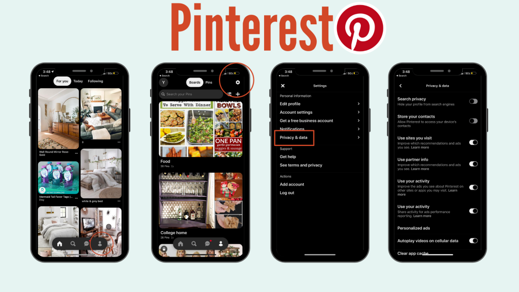 screenshots of how to set up security settings on Pinterest.