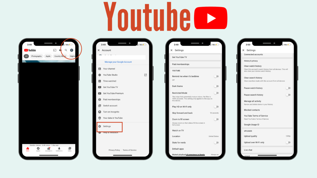 screenshots of how to set security settings on Youtube