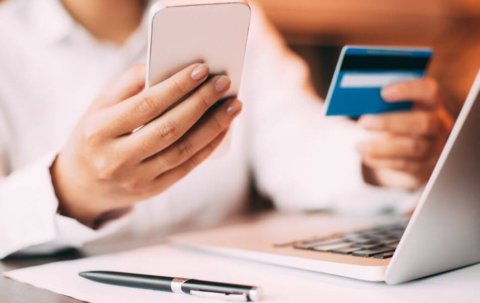 Woman paying credit card bill online