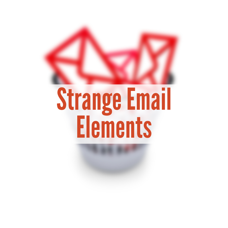 A trash can with red envelopes sticking out | Strange Email Elements