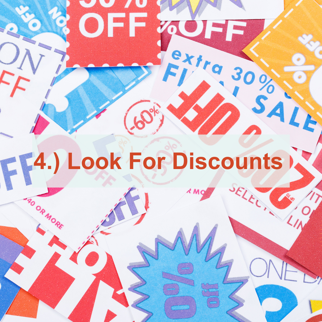 Discount stickers with 50% off written on them | Look For Discounts