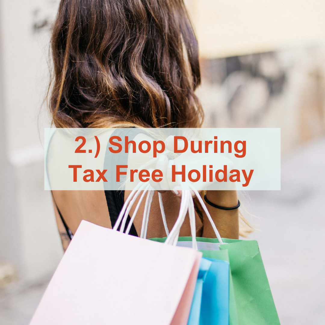 a woman with brown hair holding shopping bags | Shop During Tax Free Weekend