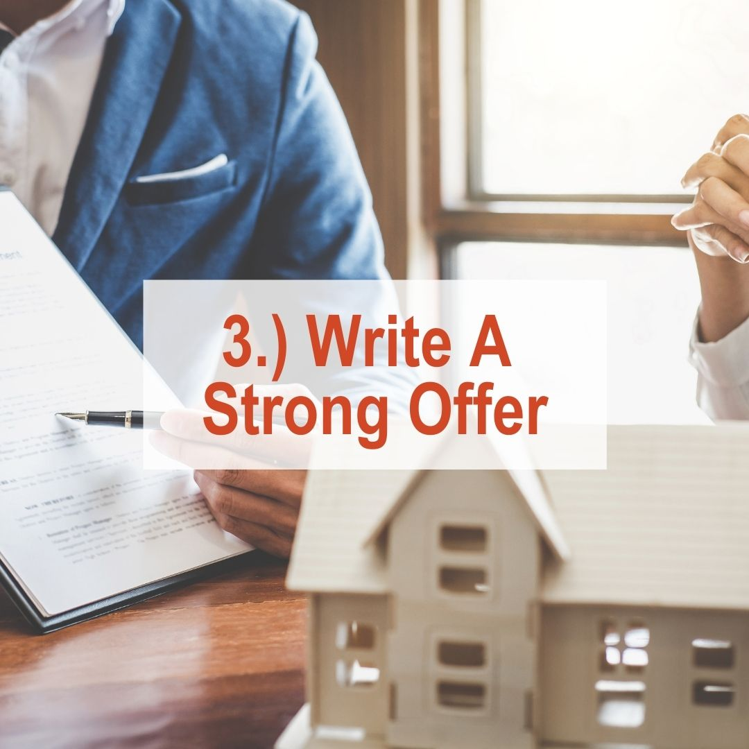 a man holding a clipboard up next to a miniature house | Write A Strong Offer