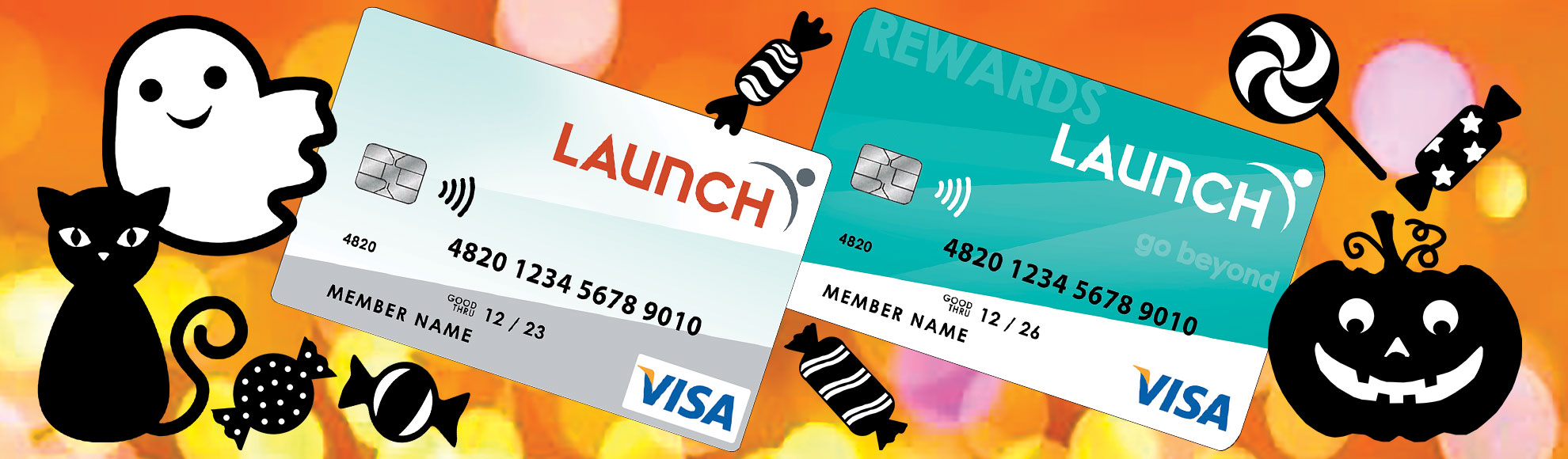 Halloween theme with 2 Launch CU Credit Cards