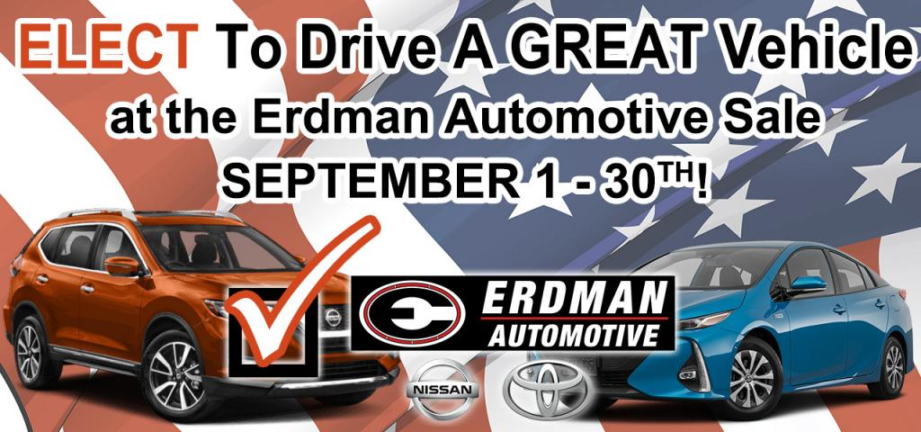 Elect to Drive a Great Vehicle at the Erdman Automotive Sale