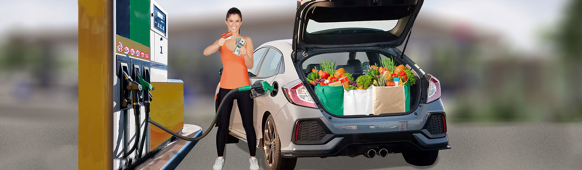 Woman pumping gas with a trunk full of groceries